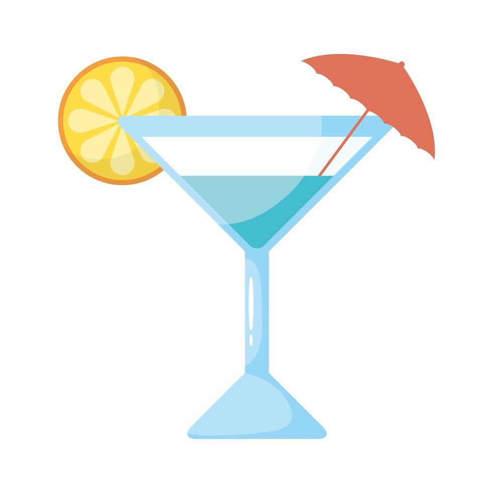 Copa de cóctel tropical con icono de estilo plano de paraguas vector