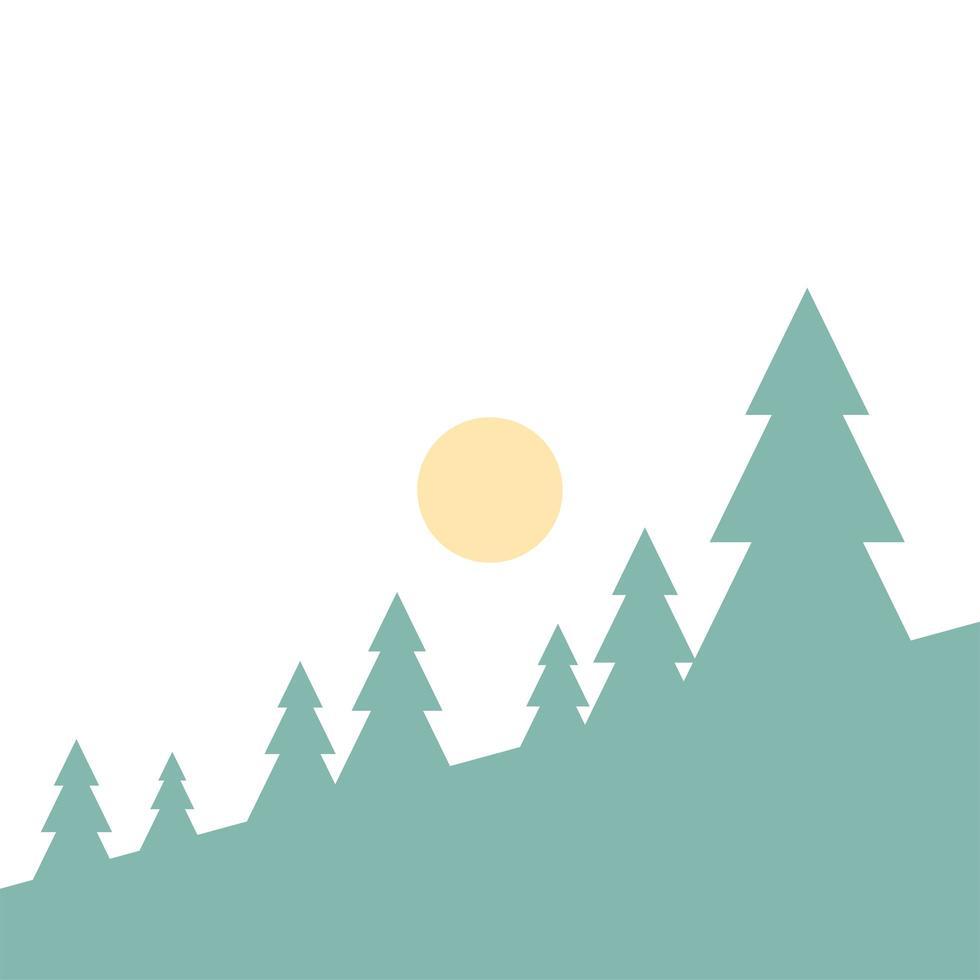 diseño de vector de paisaje de pinos y sol