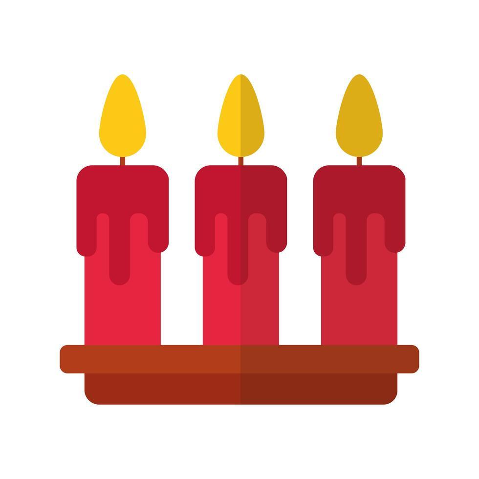 feliz navidad velas icono de estilo plano vector