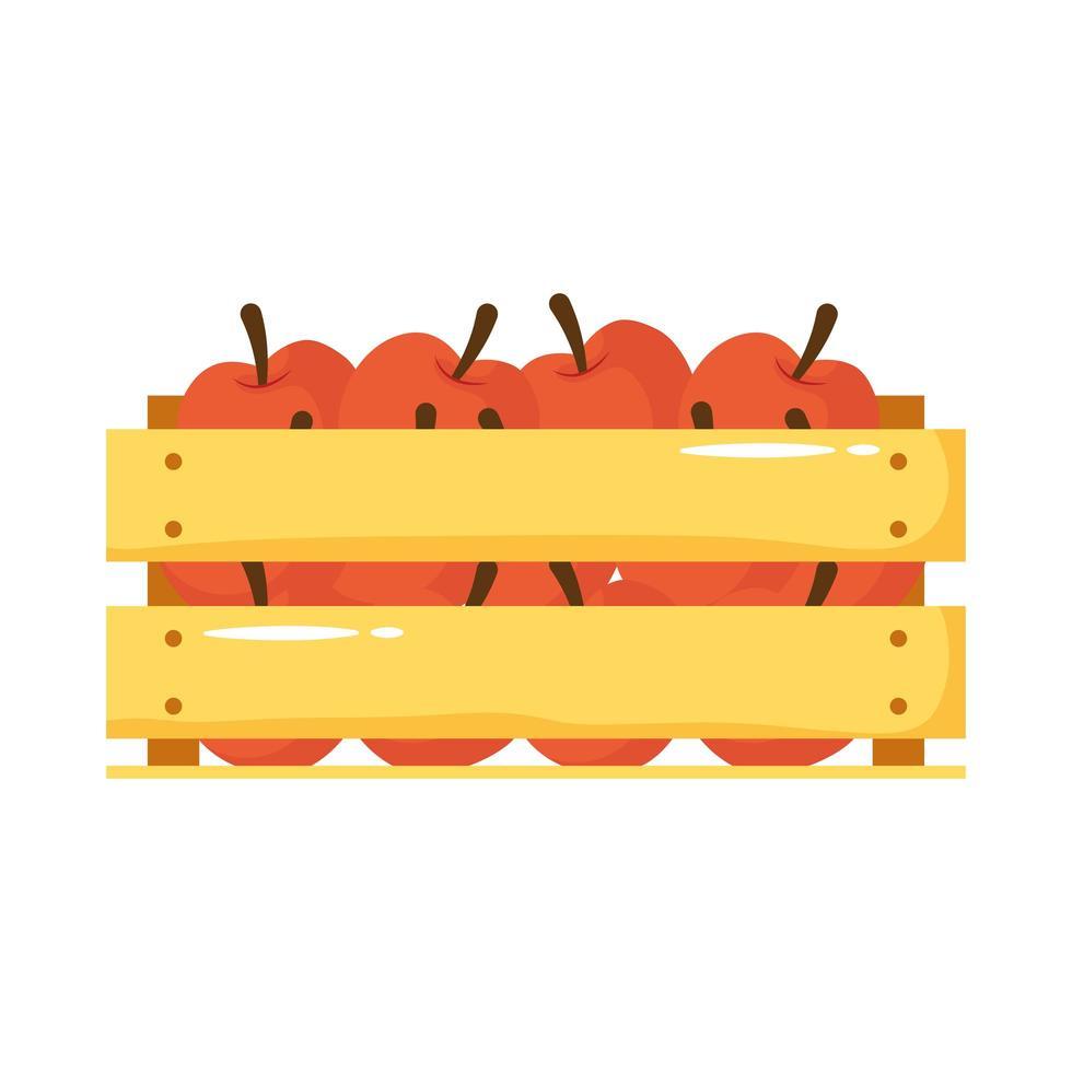 manzanas en canasta de madera icono de estilo plano vector