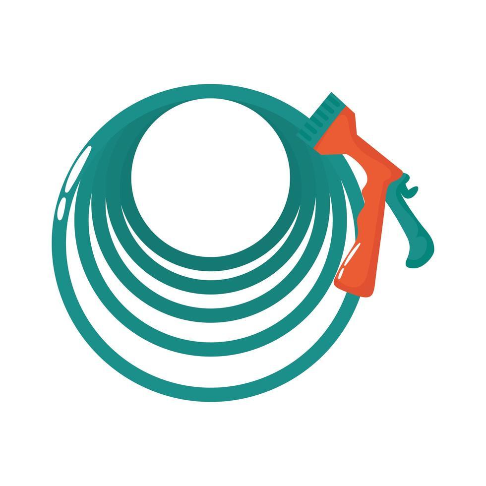 icono de estilo plano de herramienta de manguera de jardín vector