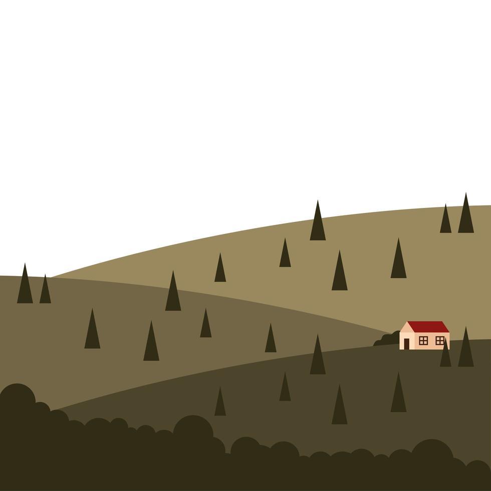 Casa en la montaña con diseño de vector de paisaje de pinos