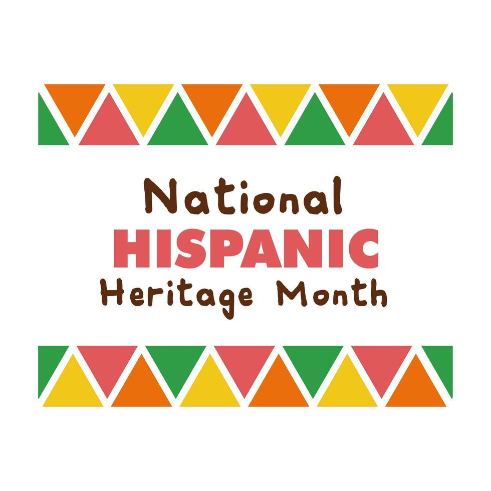 letras de la herencia nacional hispana en el icono de estilo plano de marco vector