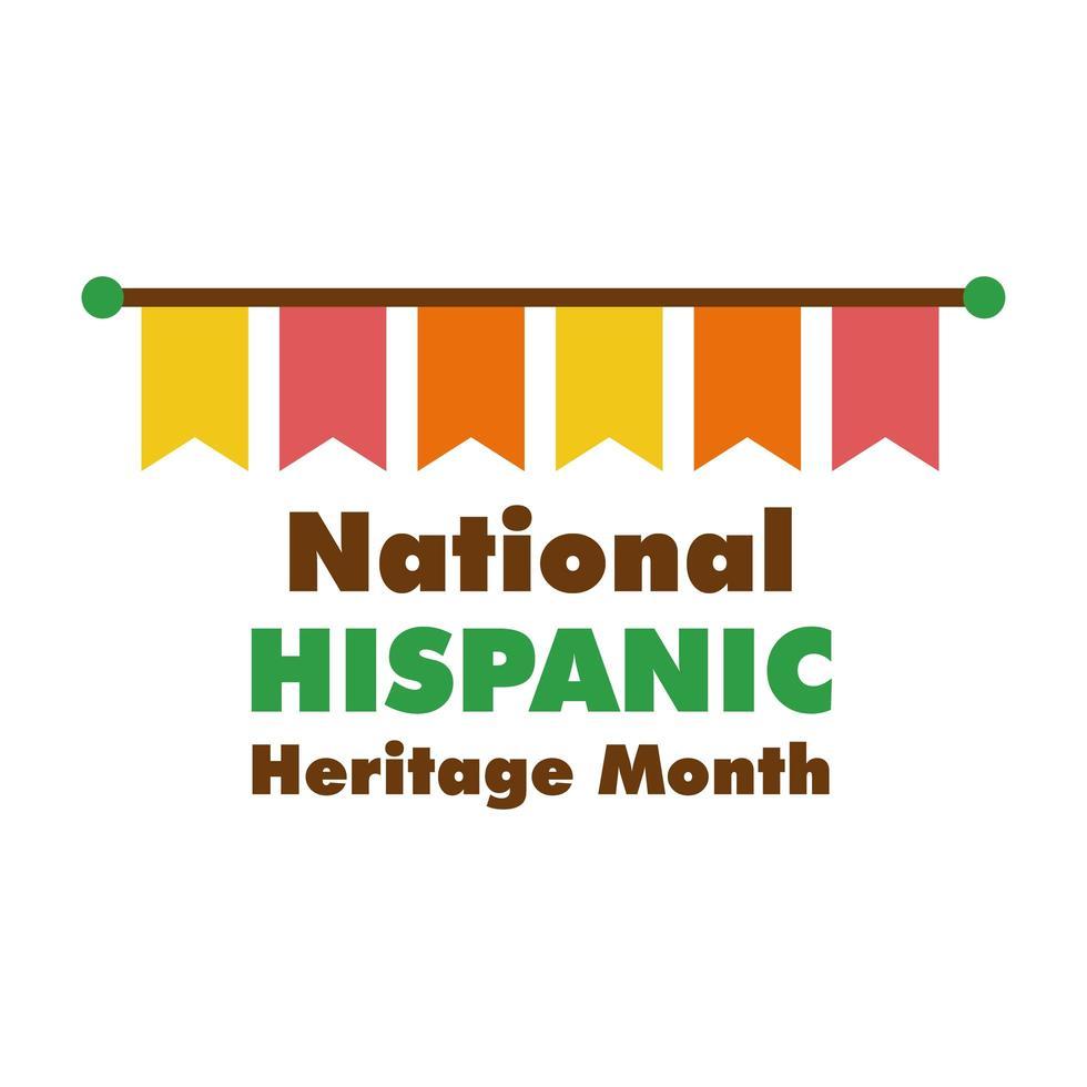 Letras de herencia nacional hispana con guirnaldas icono de estilo plano vector