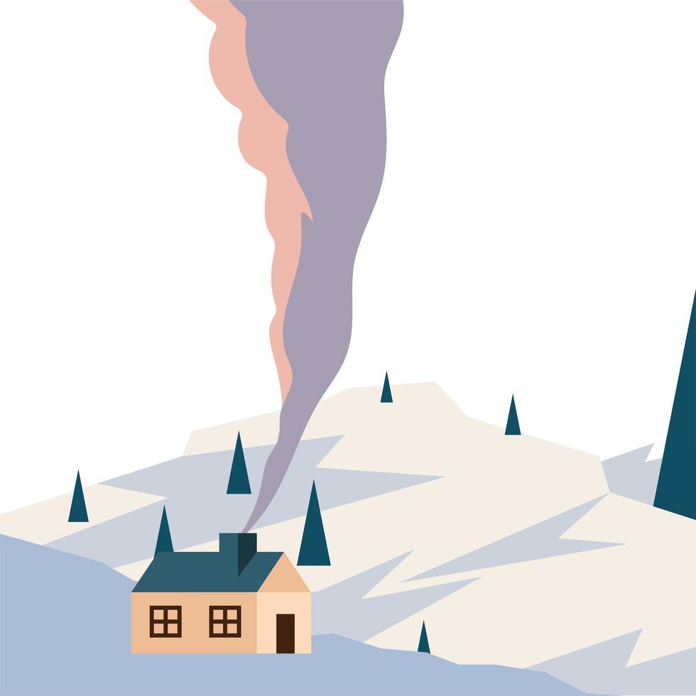 Casa en la montaña nevada con diseño de vector de paisaje de pinos