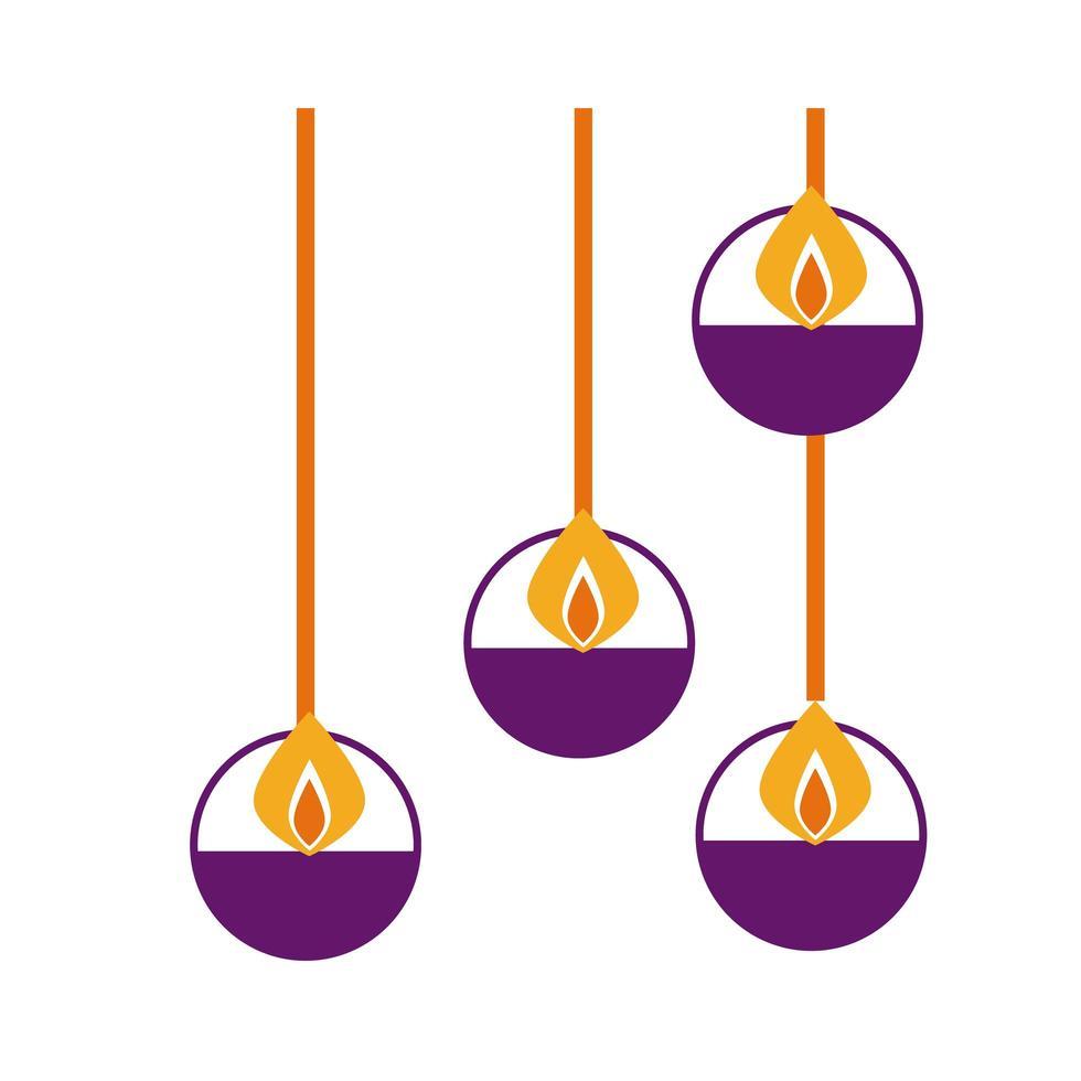 velas de diwali colgando icono de estilo plano vector