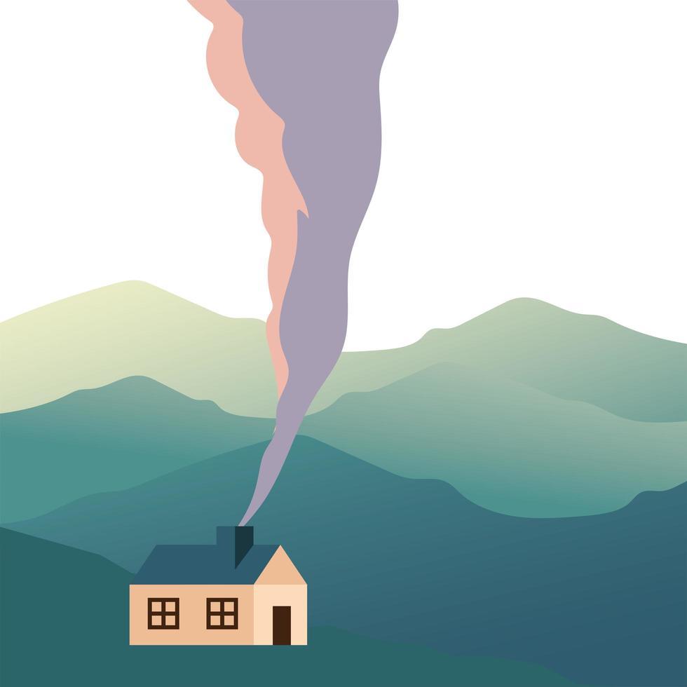 Casa aislada con humo frente a montañas de diseño vectorial vector