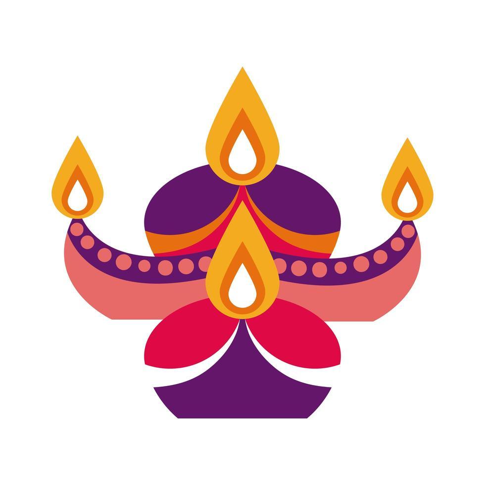 velas de diwali en icono de estilo plano de caldero decorativo vector