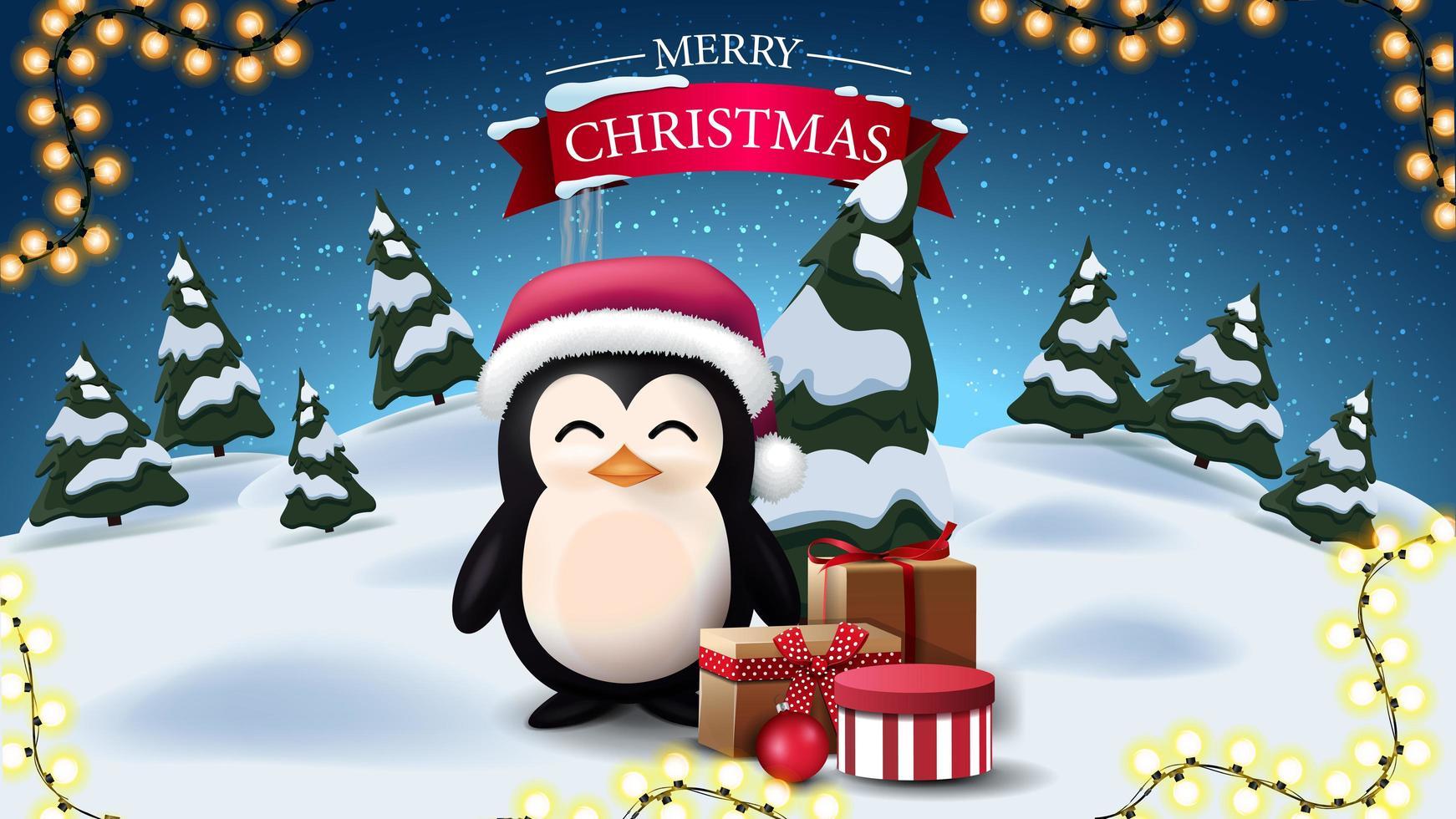 Feliz Navidad, postal con paisaje de invierno nocturno de dibujos animados y pingüino con sombrero de santa claus con regalos vector