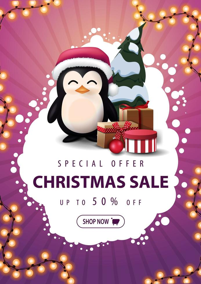 Special offer, Christmas sale, up to 50 off, vertical pink discount banner with abstract white cloud, garland, button and penguin in Santa Claus hat with presents vector