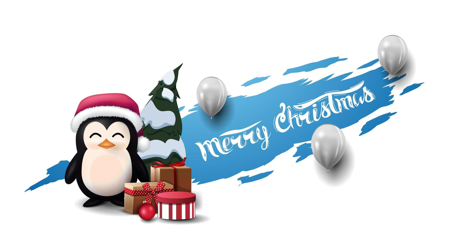 Merry Christmas, modern postcard with white balloons and penguin in Santa Claus hat with presents. Blue torn banner isolated on white background. vector