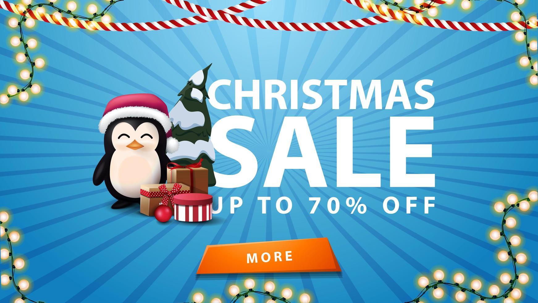 rebajas navideñas, hasta 70 de descuento, estandarte azul con guirnalda, botón naranja y pingüino con gorro de santa claus con regalos vector