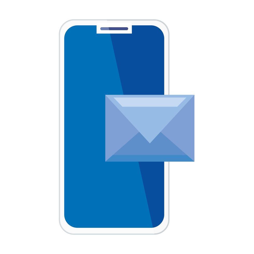 Smartphone con sobre, concepto de comunicación online y redes sociales sobre fondo blanco. vector