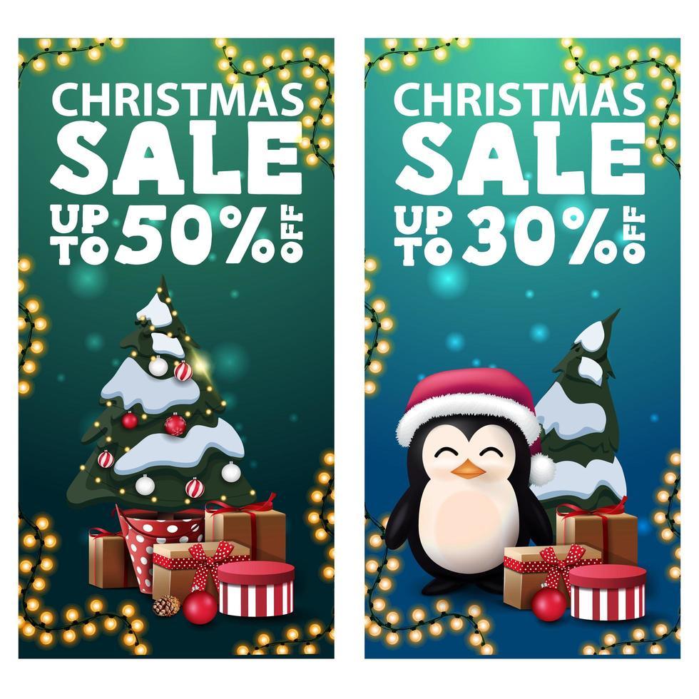 Venta navideña, hasta 50 de descuento, dos pancartas verticales de descuento con pingüino con gorro de santa claus con regalos y árbol de navidad en una olla con regalos vector