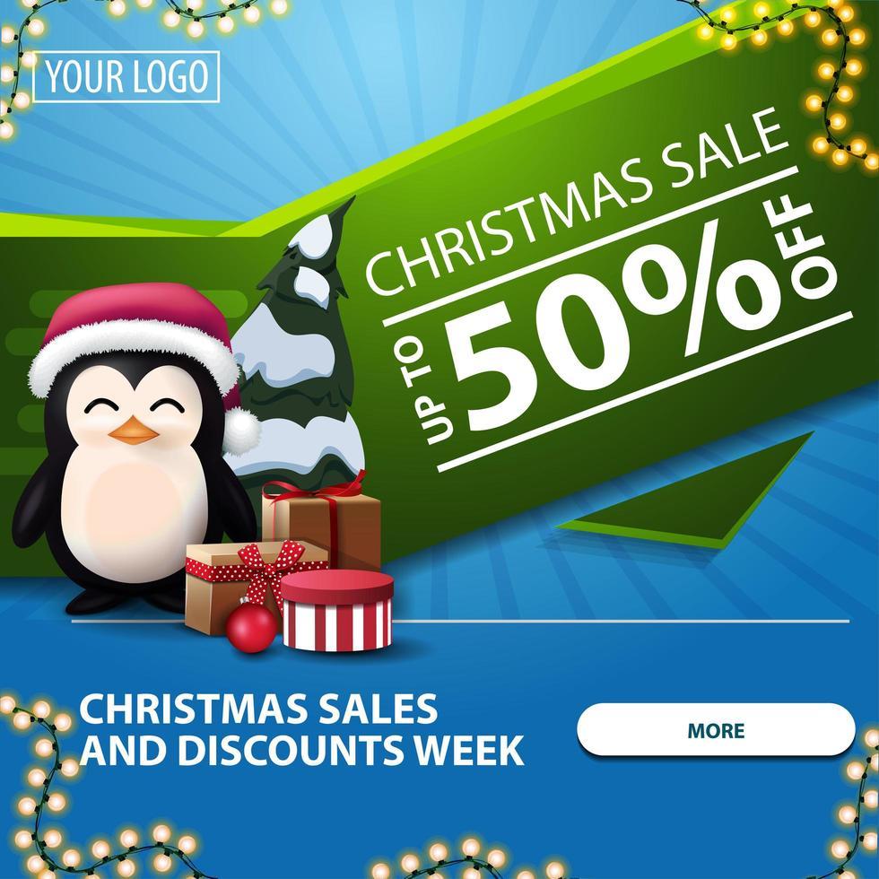 semana de rebajas y descuentos navideños, hasta 50 de descuento, banner web moderno brillante azul y verde con botón, guirnalda y pingüino con gorro de santa claus con regalos vector