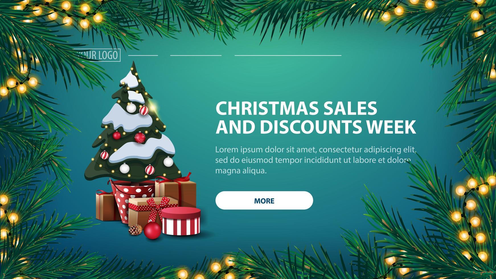 Semana de rebajas y descuentos navideños, estandarte verde con guirnalda de ramas de pino con guirnalda amarilla y árbol de navidad en una maceta con regalos vector