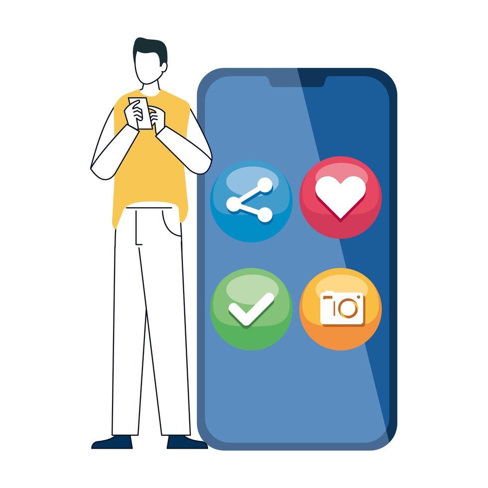 Hombre y teléfono inteligente con iconos de redes sociales, concepto de comunicación en línea sobre fondo blanco. vector