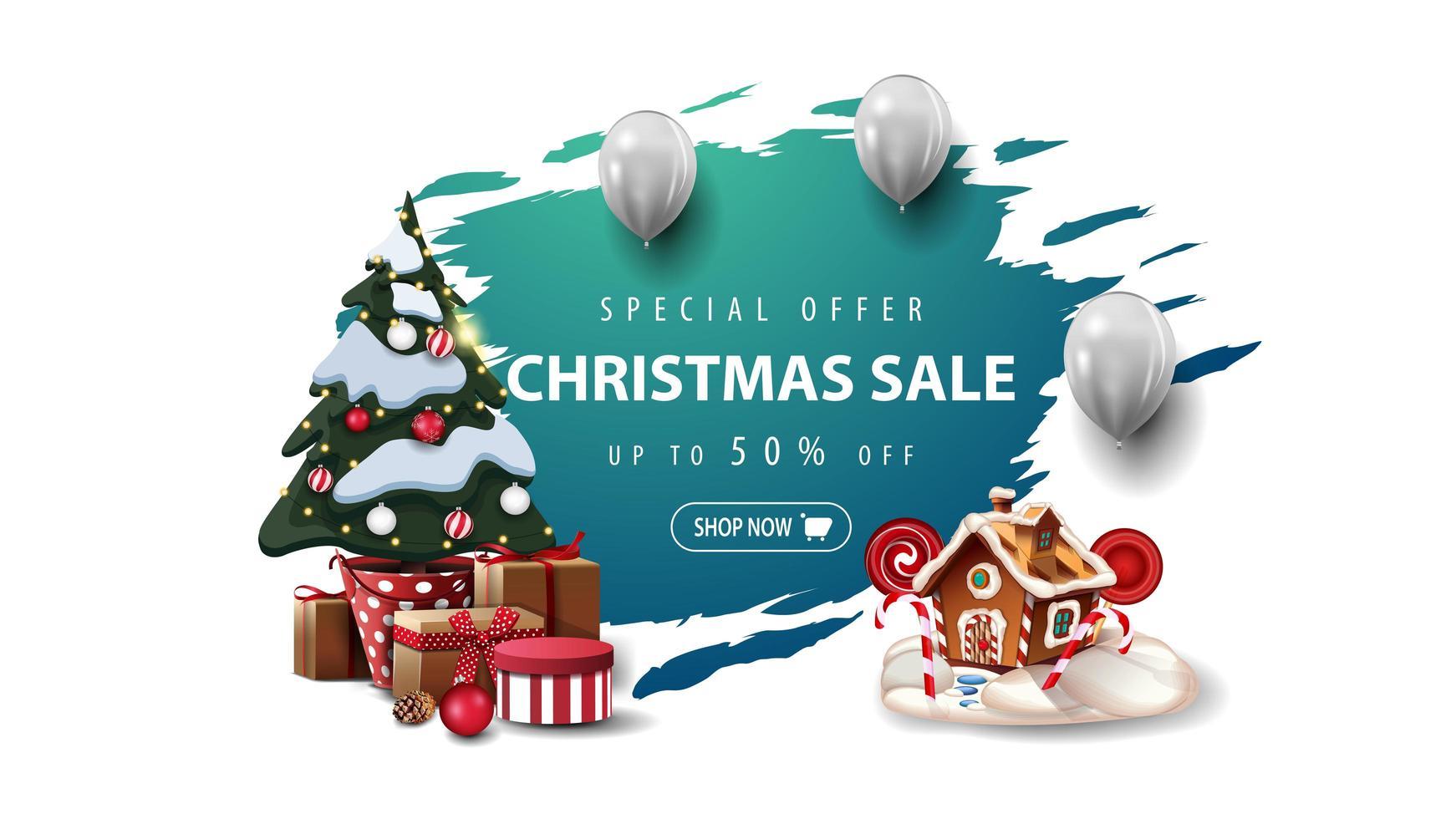 oferta especial, rebajas navideñas, hasta 50 de descuento, pancarta con globos blancos, arbol de navidad en maceta con regalos y casita navideña de jengibre. Banner rasgado azul aislado sobre fondo blanco. vector