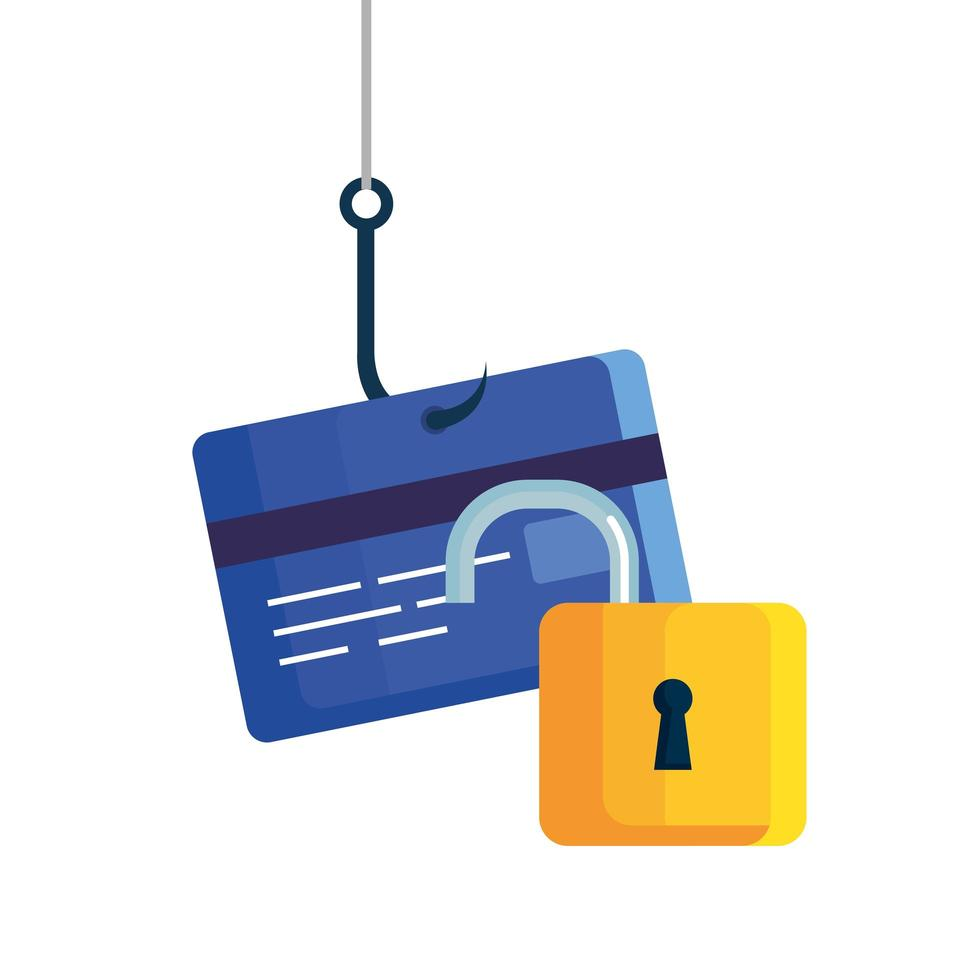 concepto de estafa en línea de piratería de phishing de datos, con gancho de tarjeta de crédito vector