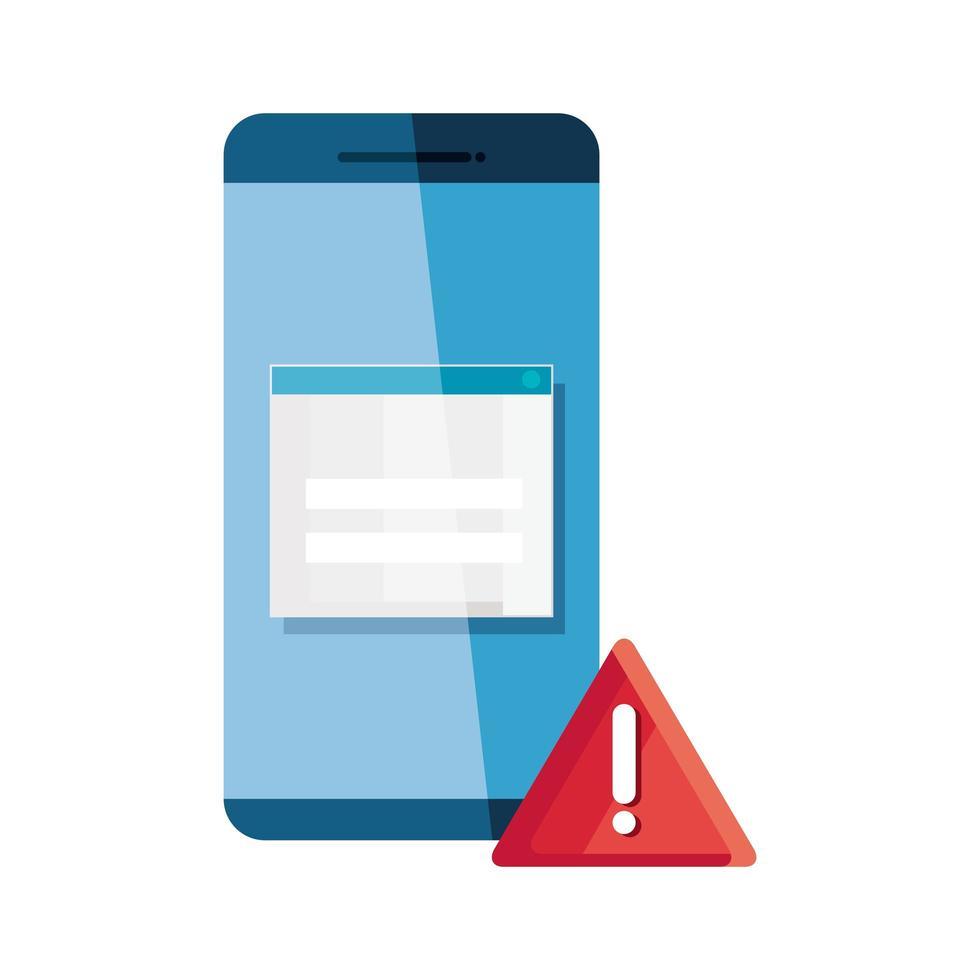 smartphone con símbolo de alerta, protección de datos o concepto de seguridad digital en línea vector