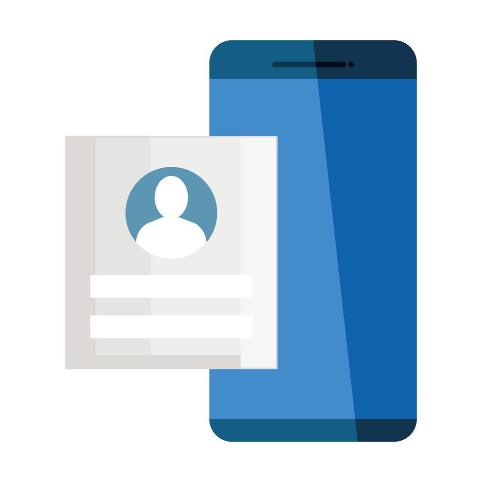 teléfono móvil, iniciar sesión en el dispositivo smartphone sobre fondo blanco vector