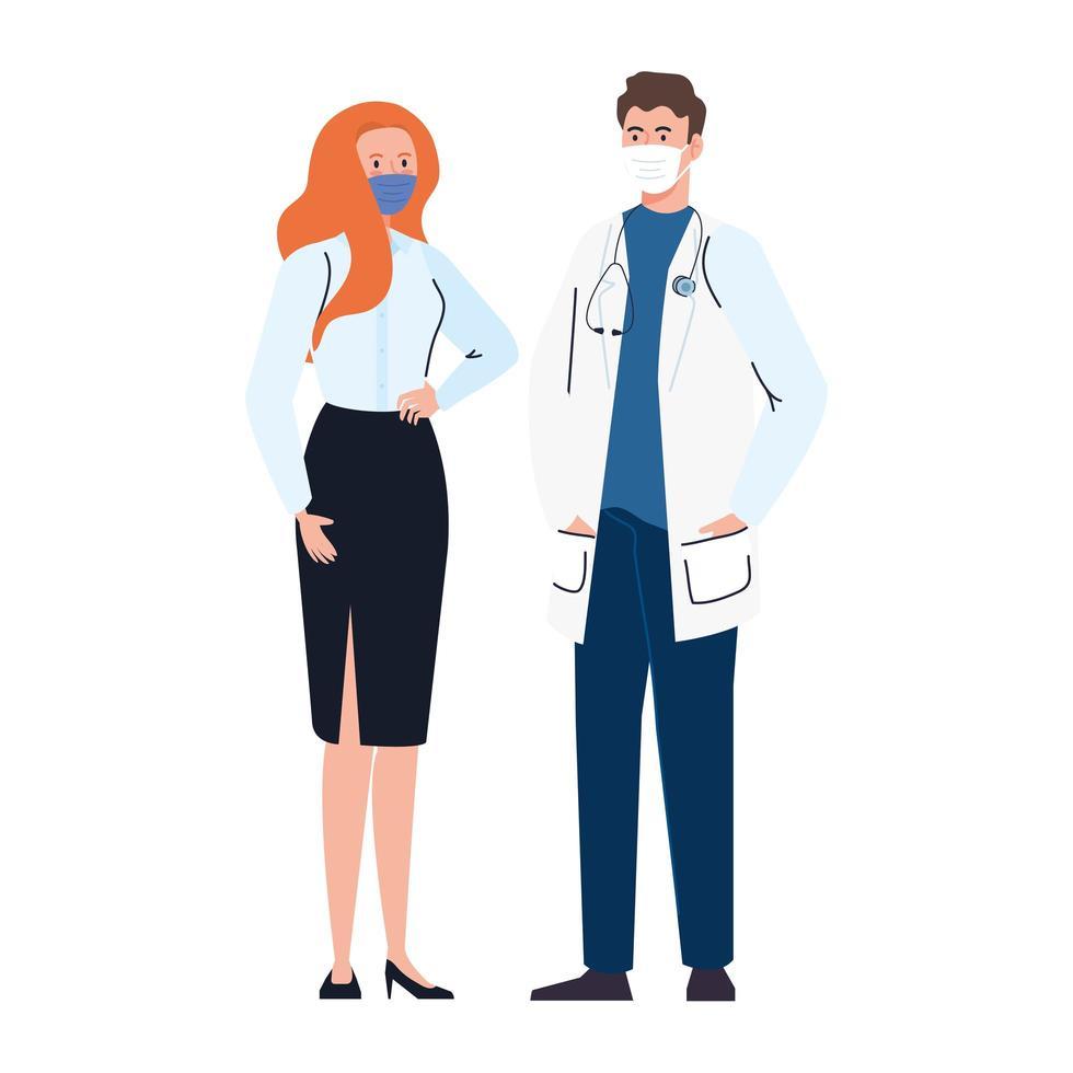 Médico con secretaria trabajadora con mascarilla durante el covid 19 sobre fondo blanco. vector
