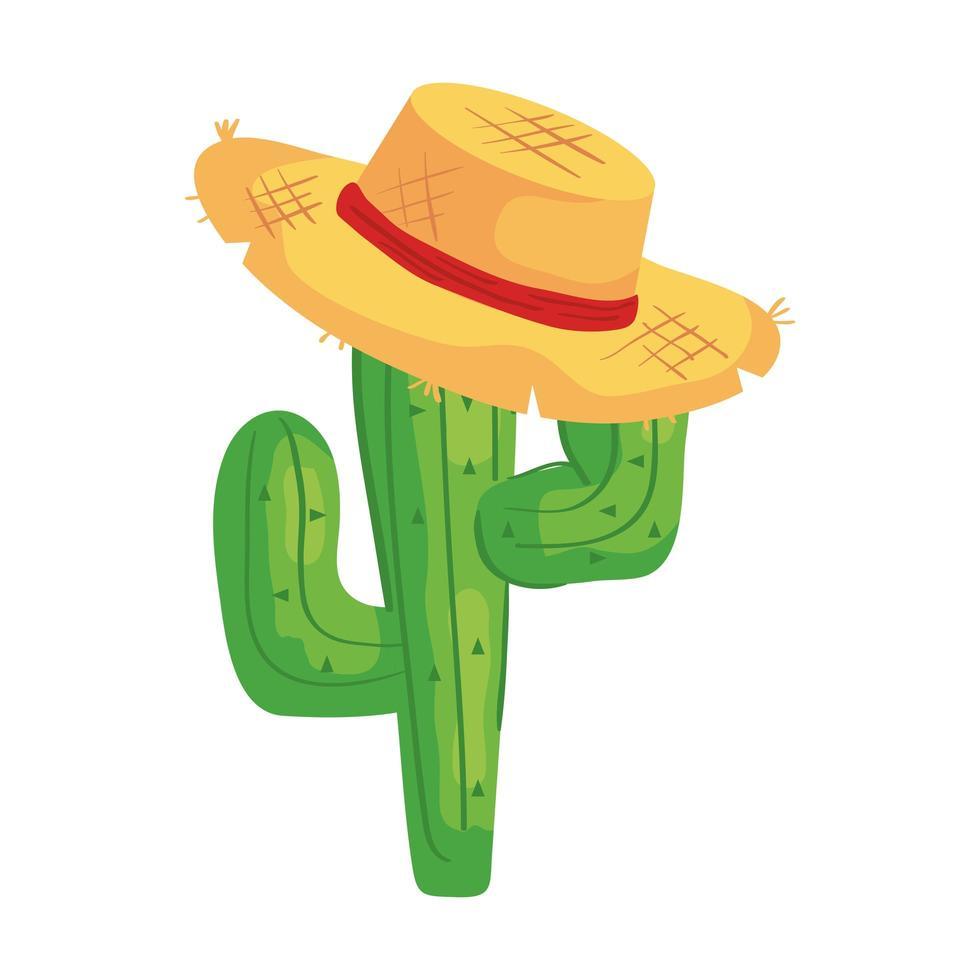 Planta de cactus con sombrero de mimbre sobre fondo blanco. vector