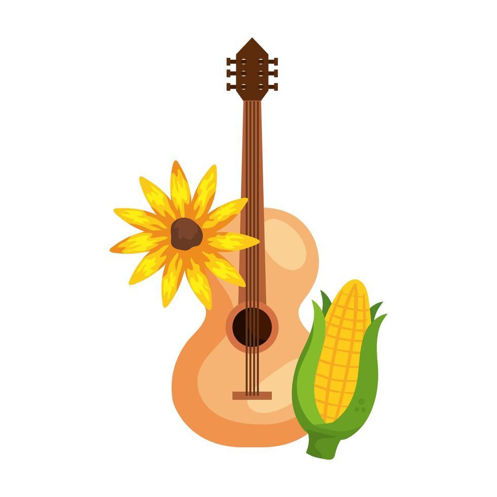 Maíz y girasol con guitarra clásica de madera sobre fondo blanco. vector