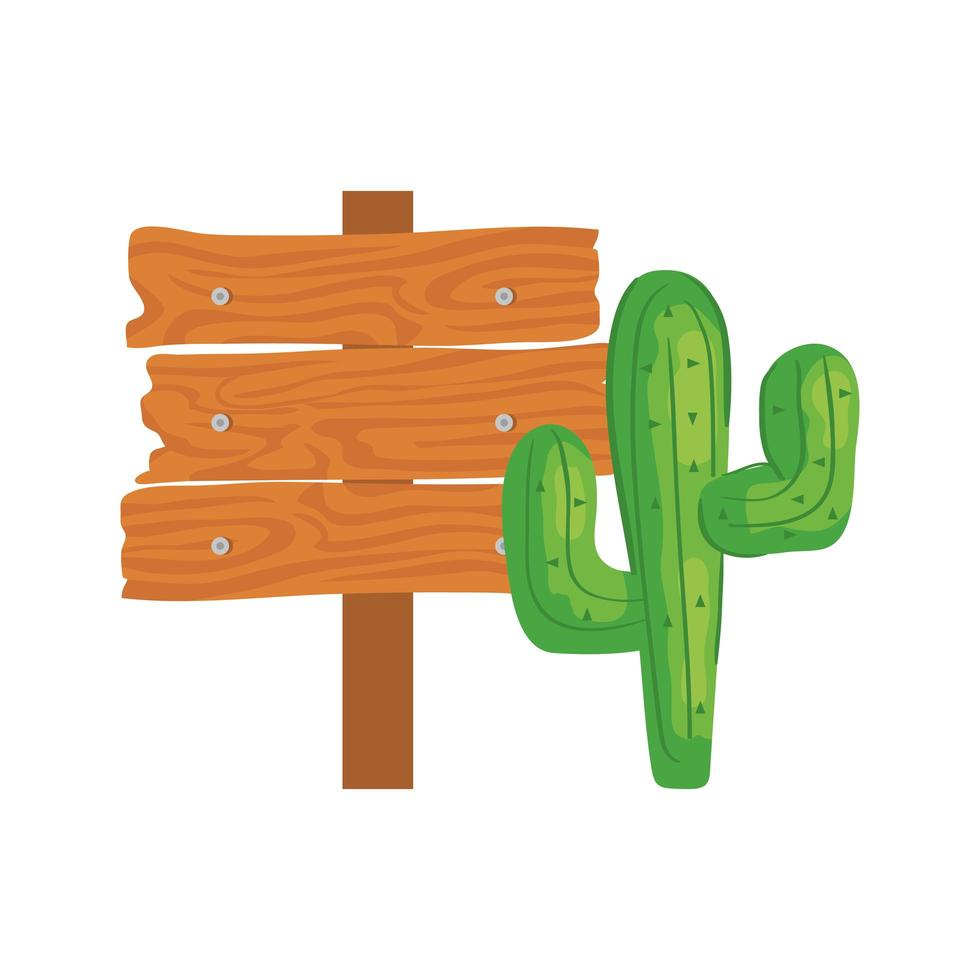 cactus plant with wooden sign post on white background vector