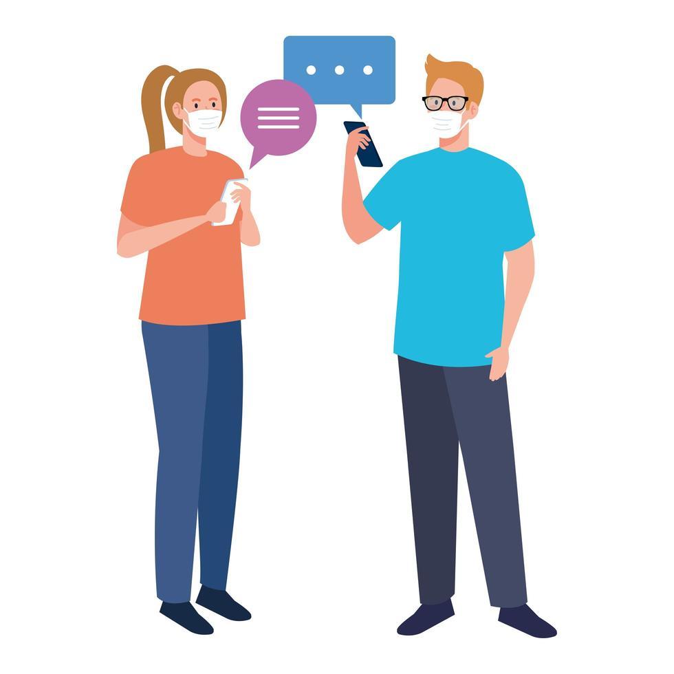 Mujer y hombre con máscaras médicas con diseño de vector de teléfono inteligente y burbujas