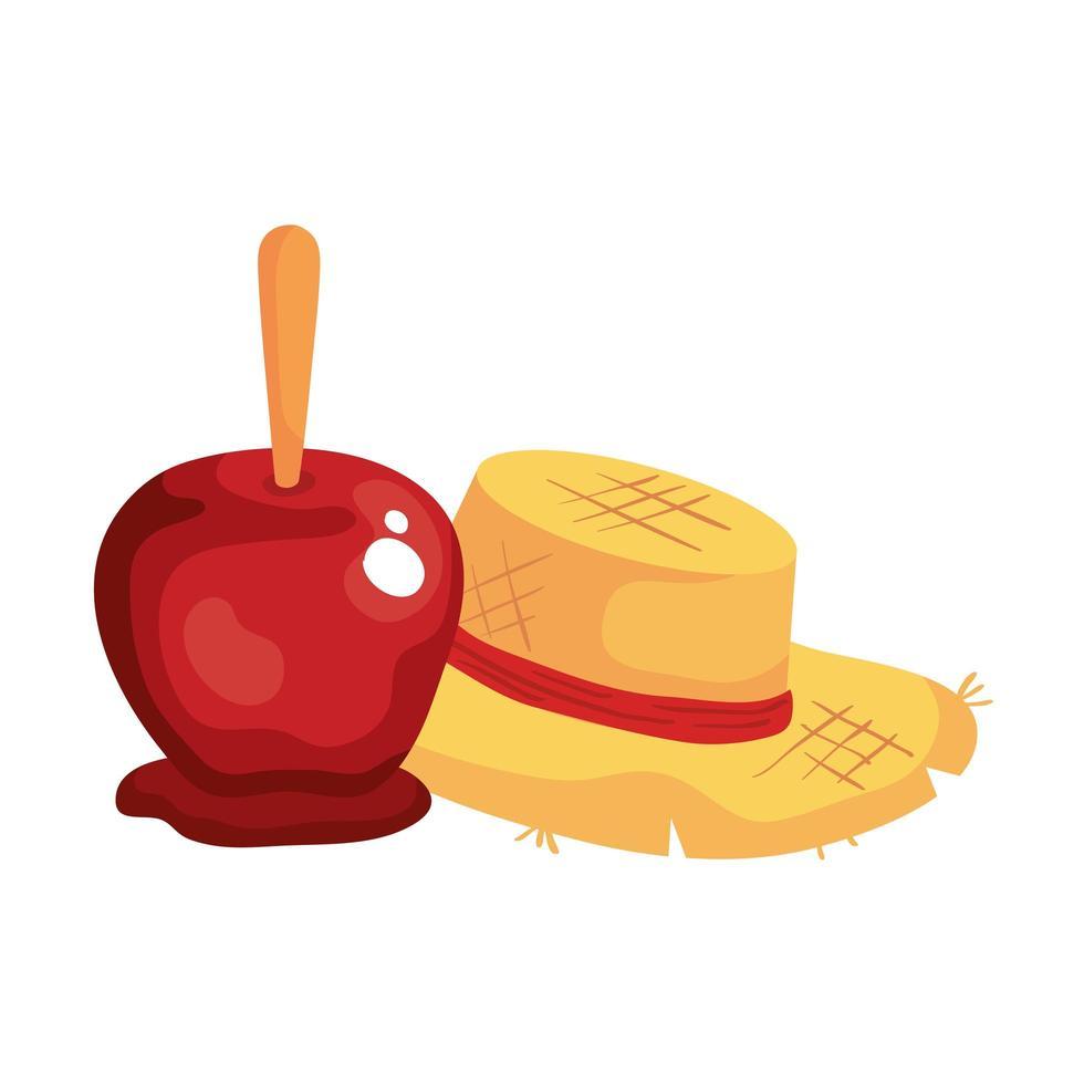 Manzana de caramelo con sombrero de mimbre sobre fondo blanco. vector