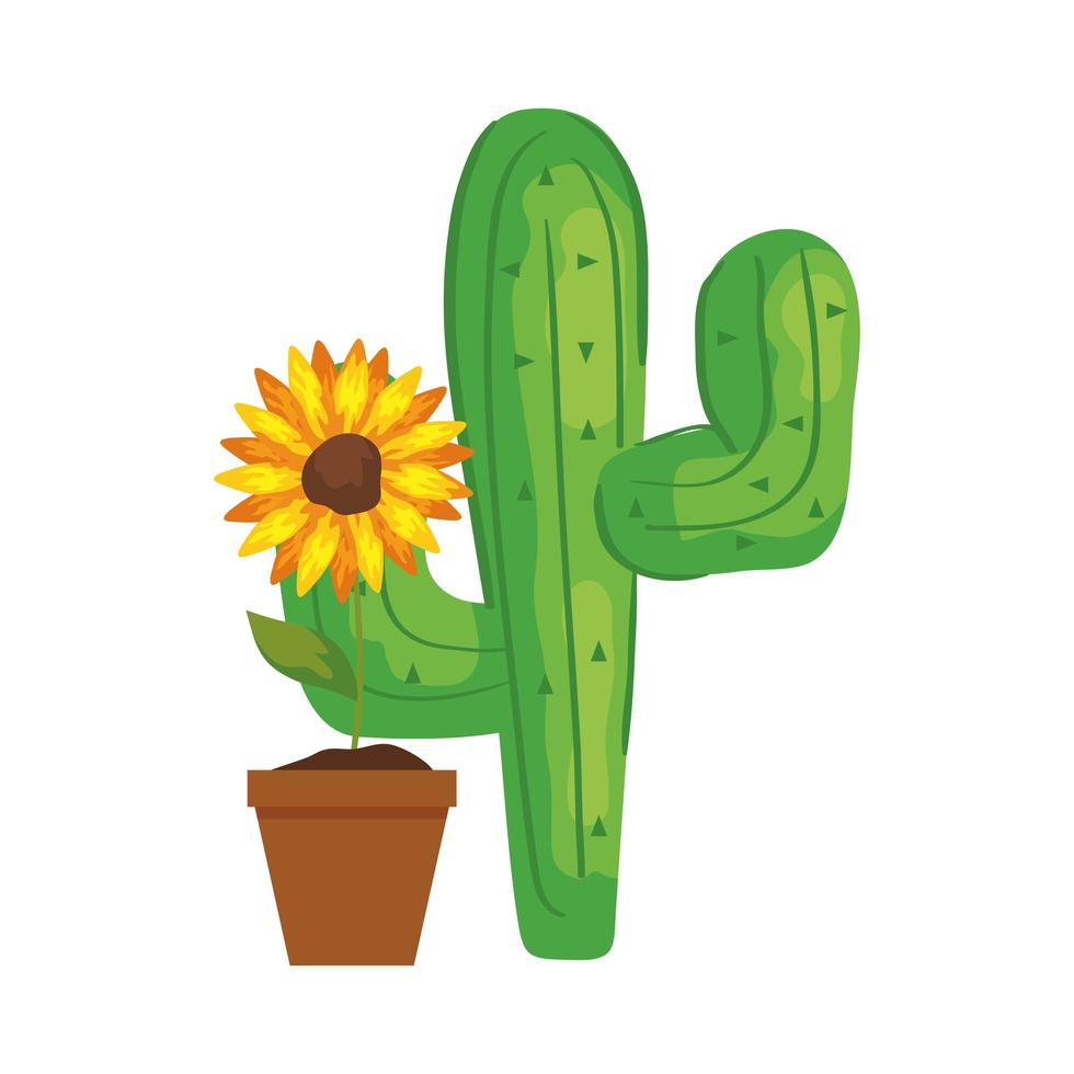 Planta de cactus con girasol sobre fondo blanco. vector