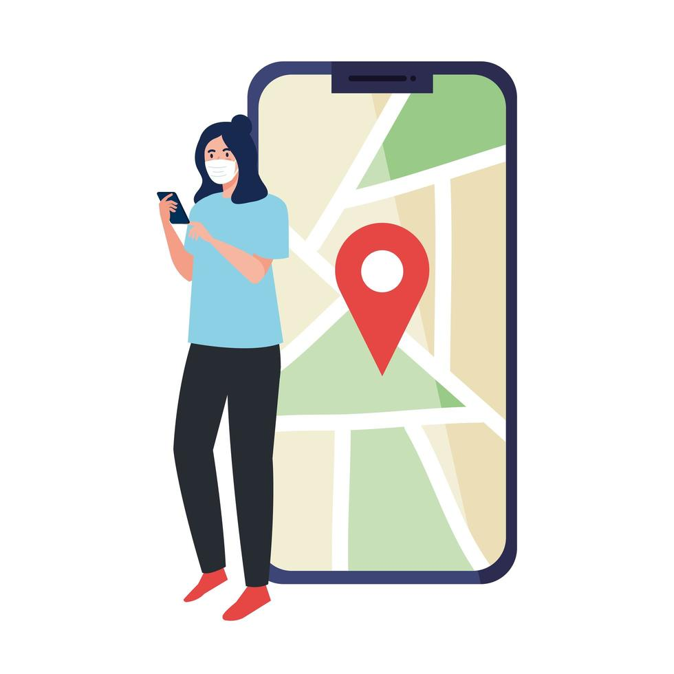 Mujer con máscara sosteniendo teléfono inteligente y marca gps en el mapa de diseño vectorial vector