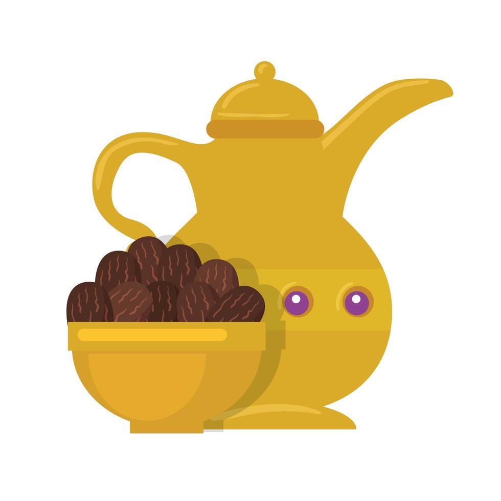 Tetera árabe dorada, plato con dátiles, patrimonio de la cultura árabe sobre fondo blanco. vector