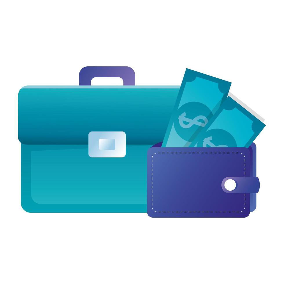 Maleta aislada y billetera con diseño de vectores de facturas