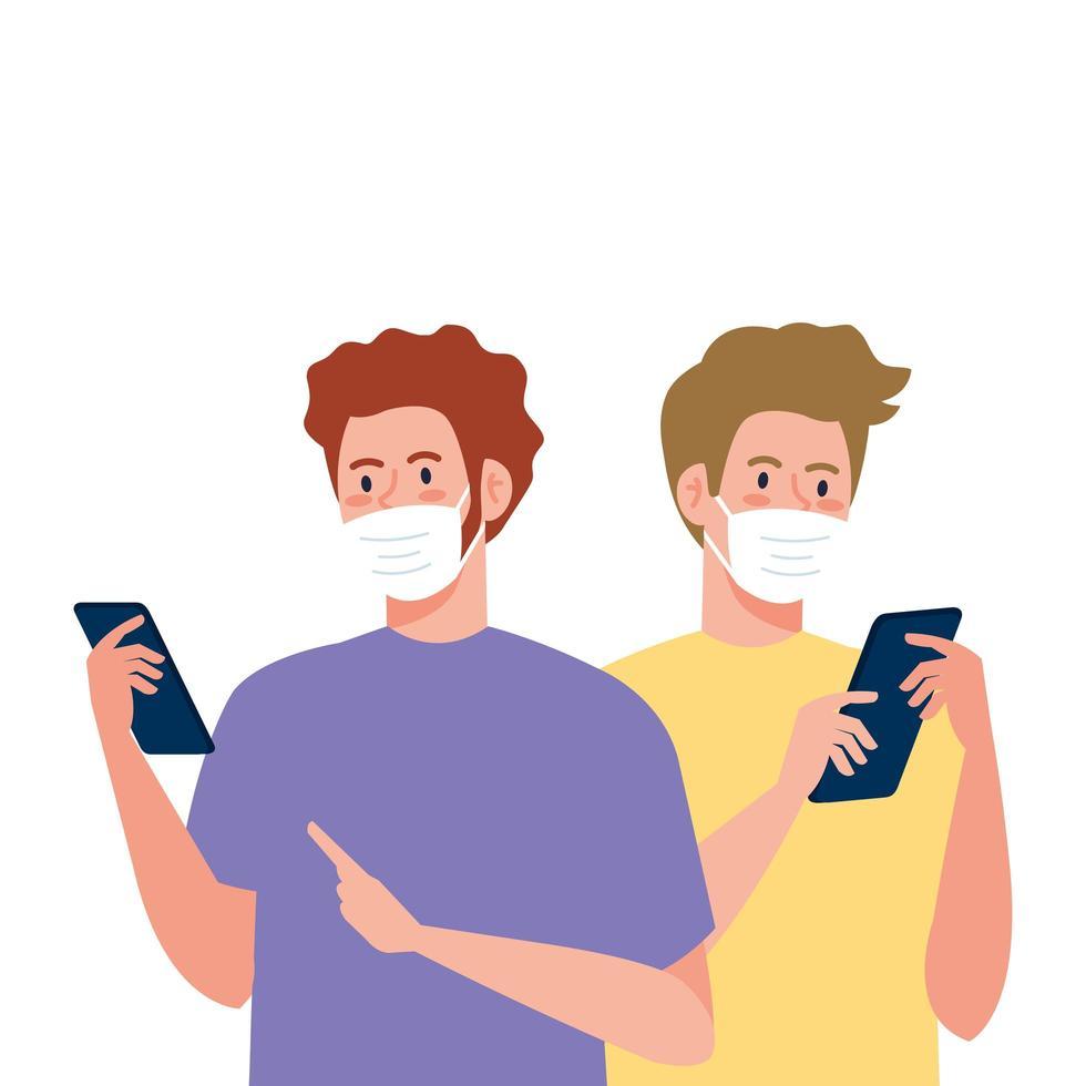 Hombres con máscaras con diseño de vector de teléfono inteligente