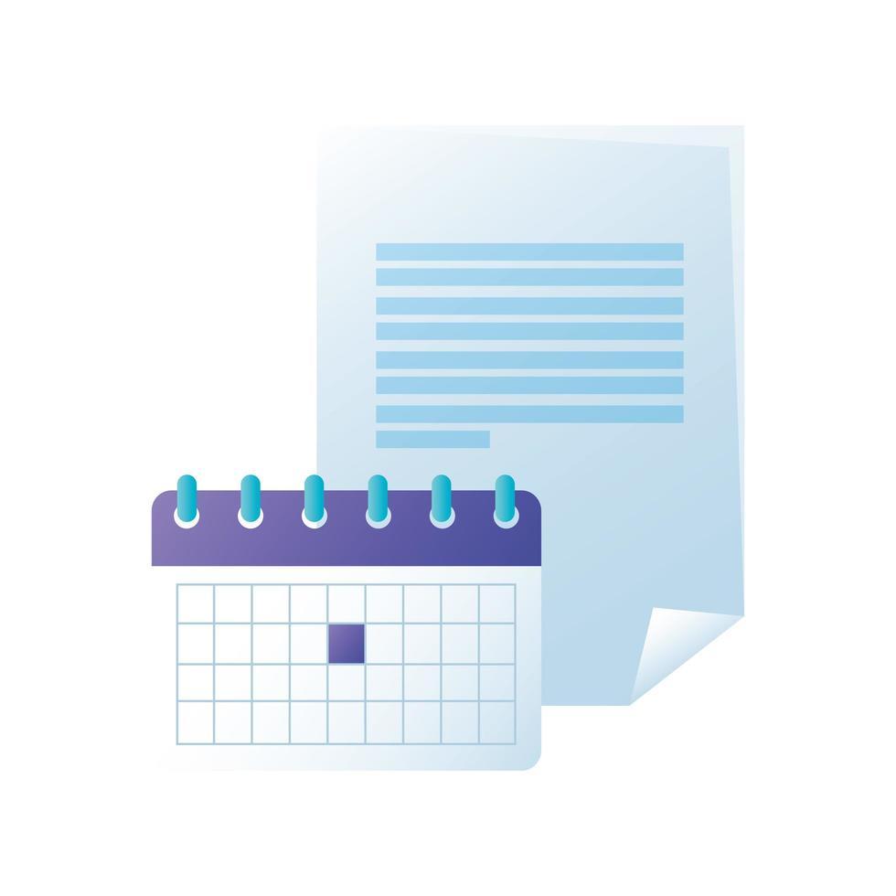 diseño de vector de calendario y documento aislado