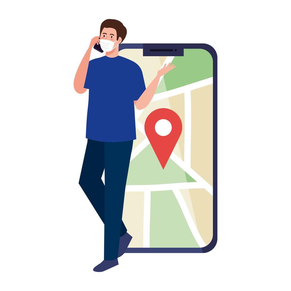Hombre con máscara sosteniendo teléfono inteligente y marca gps en el mapa de diseño vectorial vector