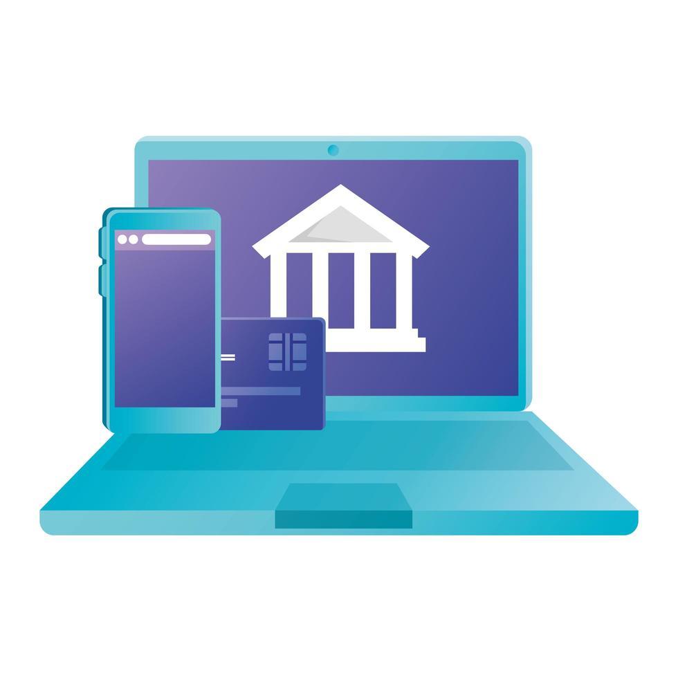 teléfono inteligente y computadora portátil con diseño de vector de tarjeta de crédito y banco