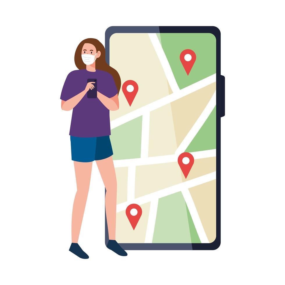 Mujer con máscara sosteniendo marcas de teléfono inteligente y gps en el mapa de diseño vectorial vector