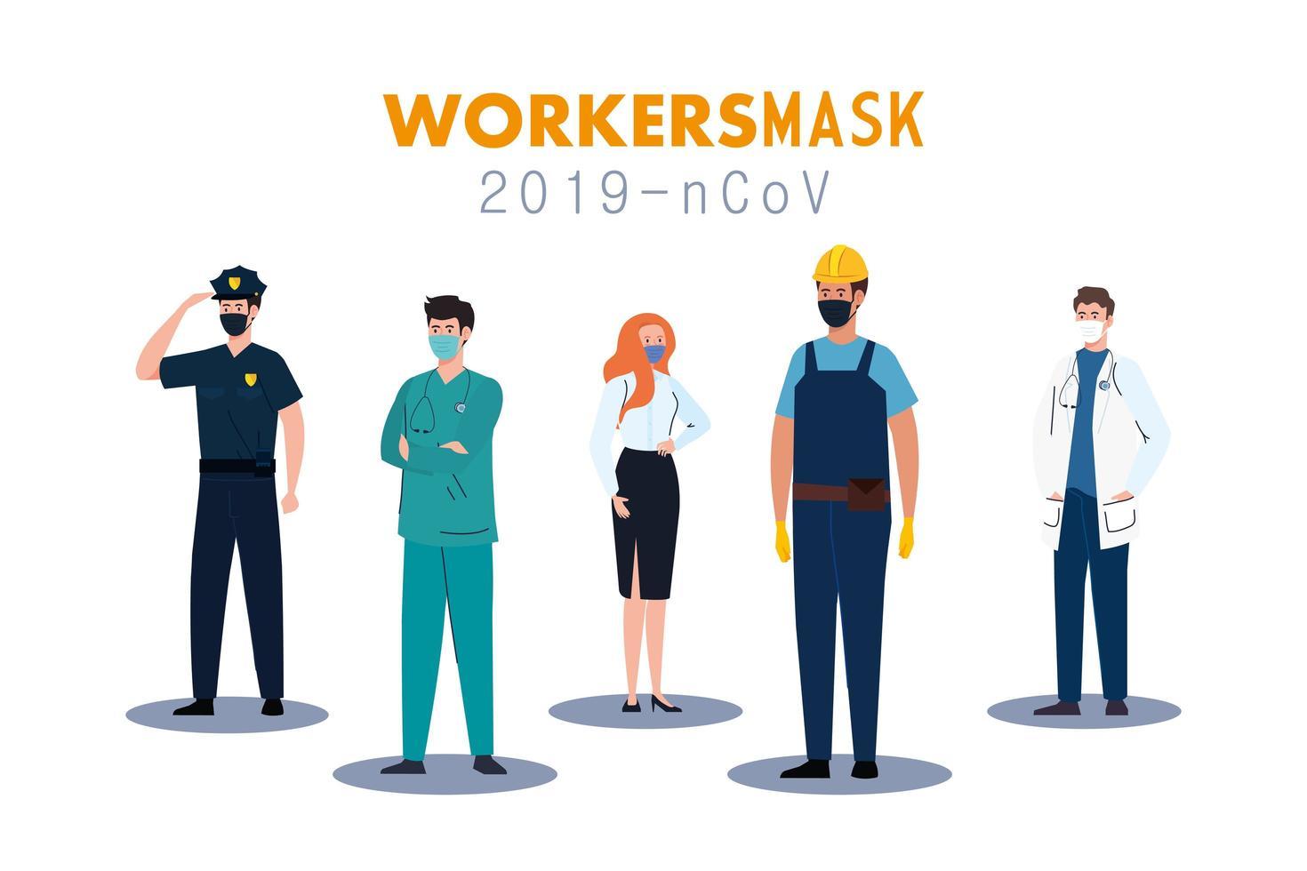 Trabajadores de personas con uniformes y máscaras de trabajadores diseño vectorial vector