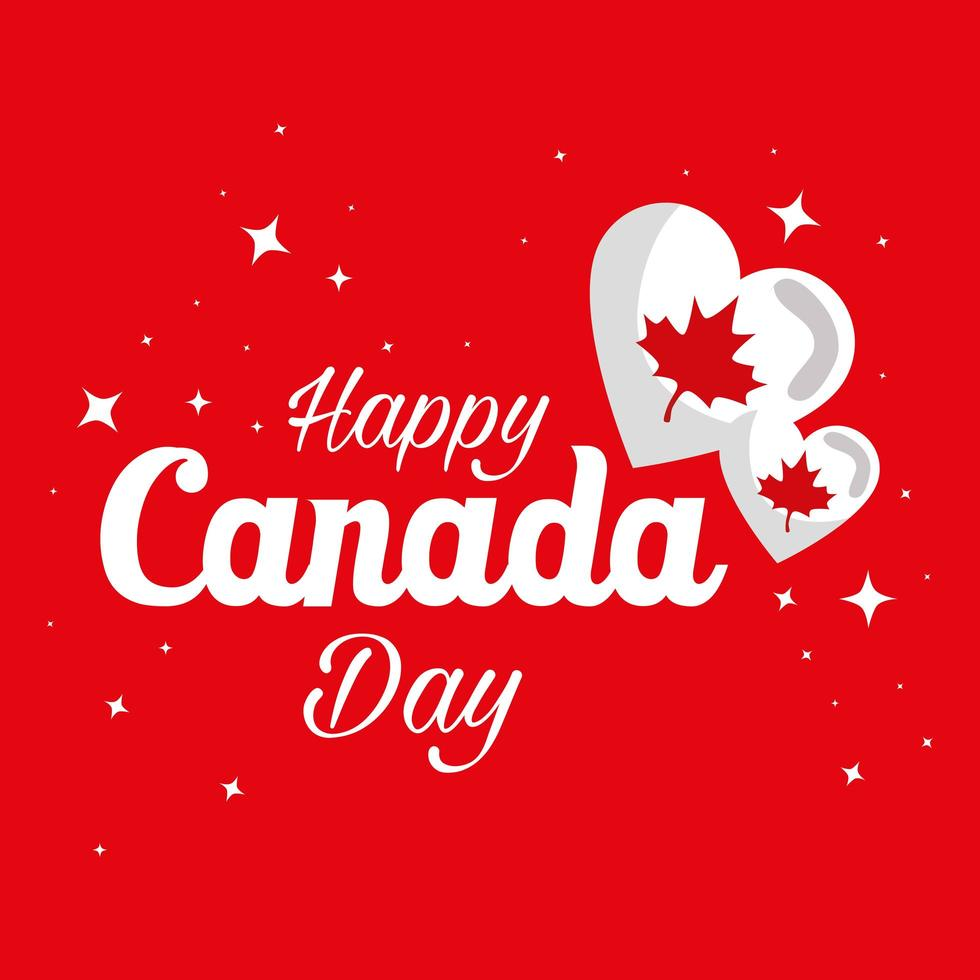 Corazones canadienses de feliz día de Canadá diseño vectorial vector