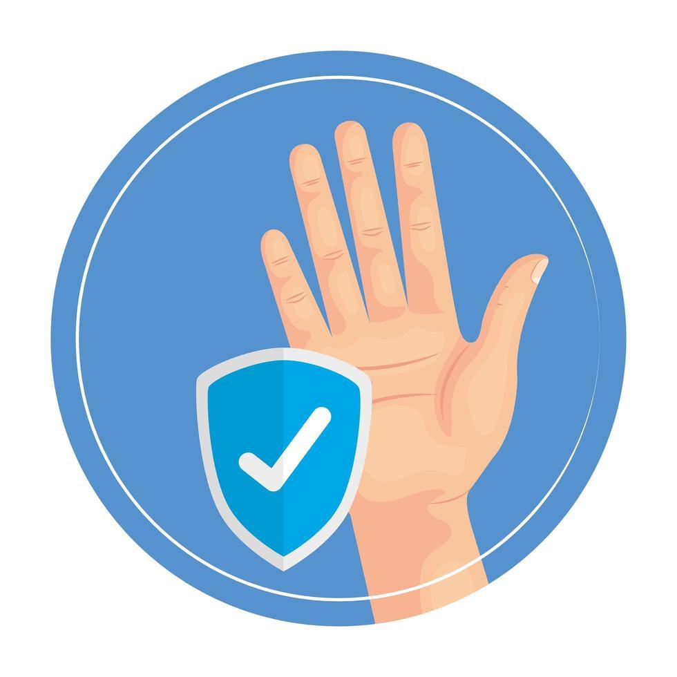 mano con diseño de vector de escudo de marca de verificación