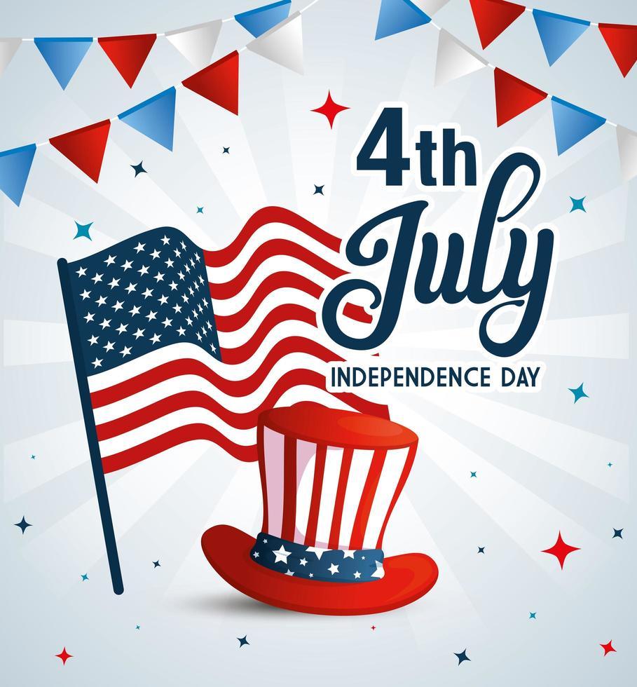 Sombrero de Estados Unidos con bandera y banderín de banner de diseño vectorial del día de la independencia vector