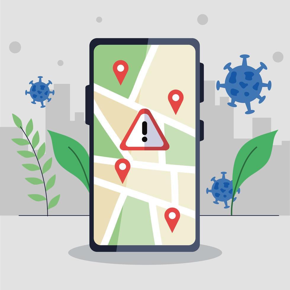 Smartphone con marca gps y diseño de vector de banner de advertencia