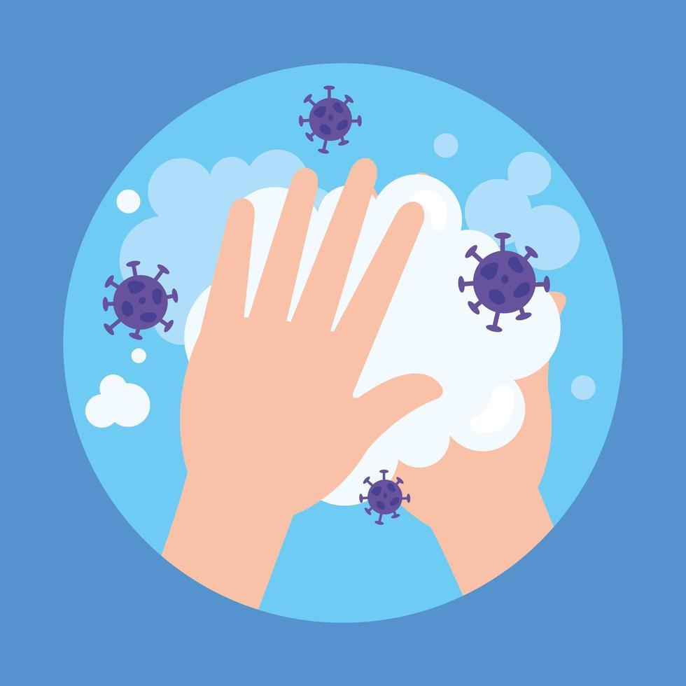 Lavarse las manos con jabón y diseño vectorial de virus covid 19 vector