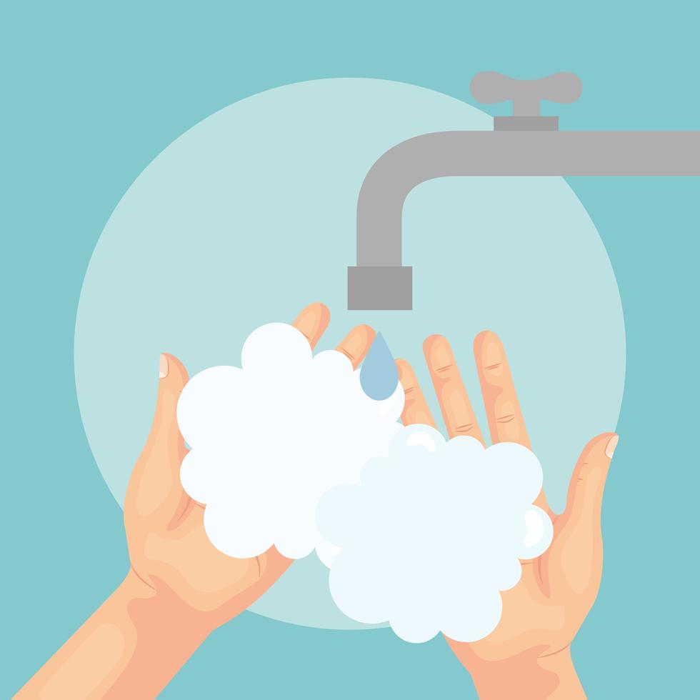 lavado de manos con jabón bajo el grifo de agua diseño vectorial vector
