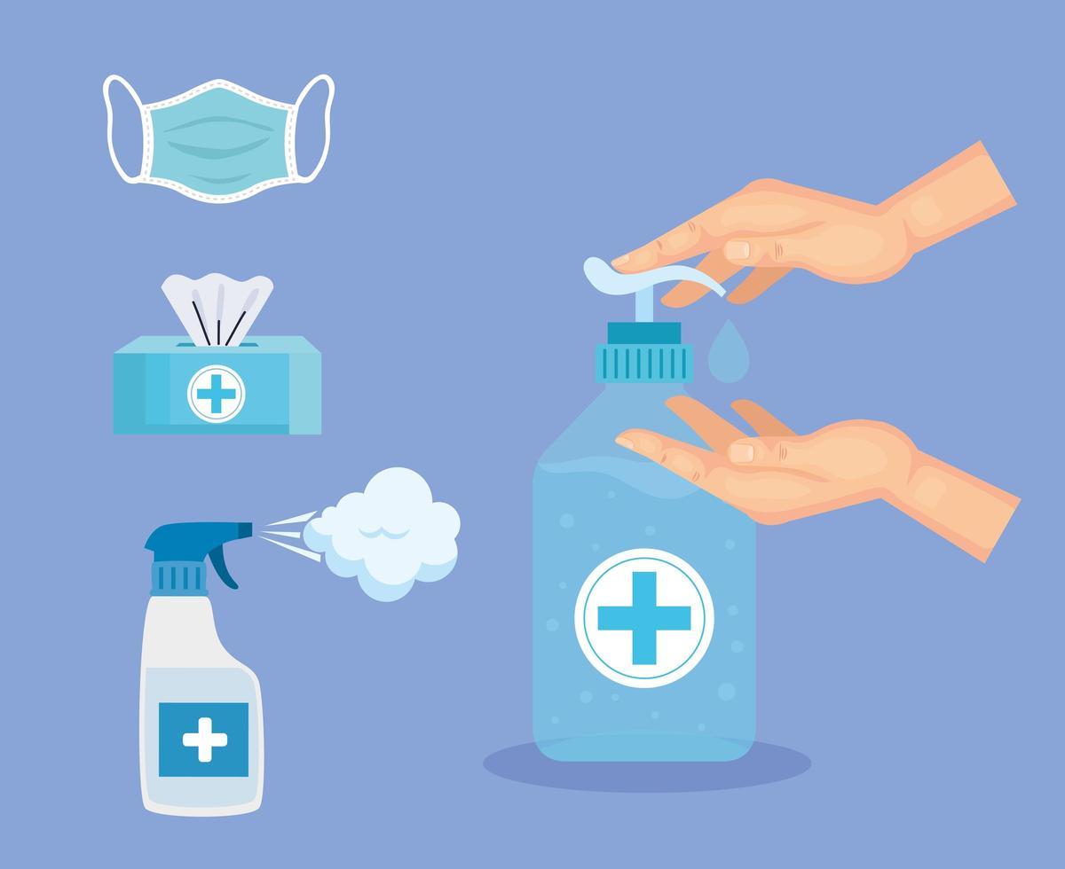desinfectante de manos botella mascarilla tejidos y spray diseño vectorial vector