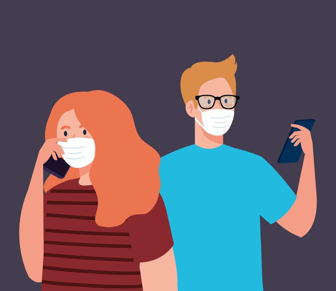 Mujer y hombre con máscara con diseño de vector de teléfono inteligente