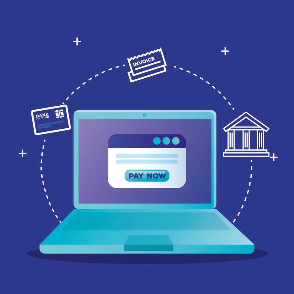 portátil y sitio web con diseño vectorial de botón pagar ahora vector